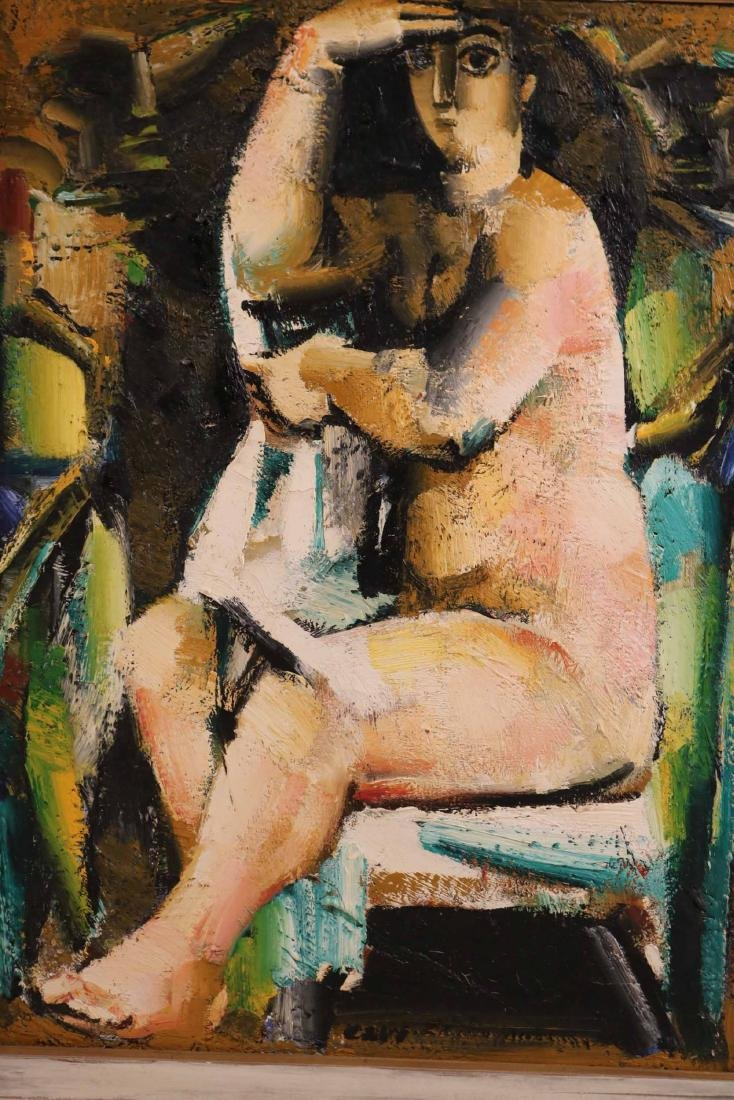 Oil on Canvas, Abstract Seated Nude - 2