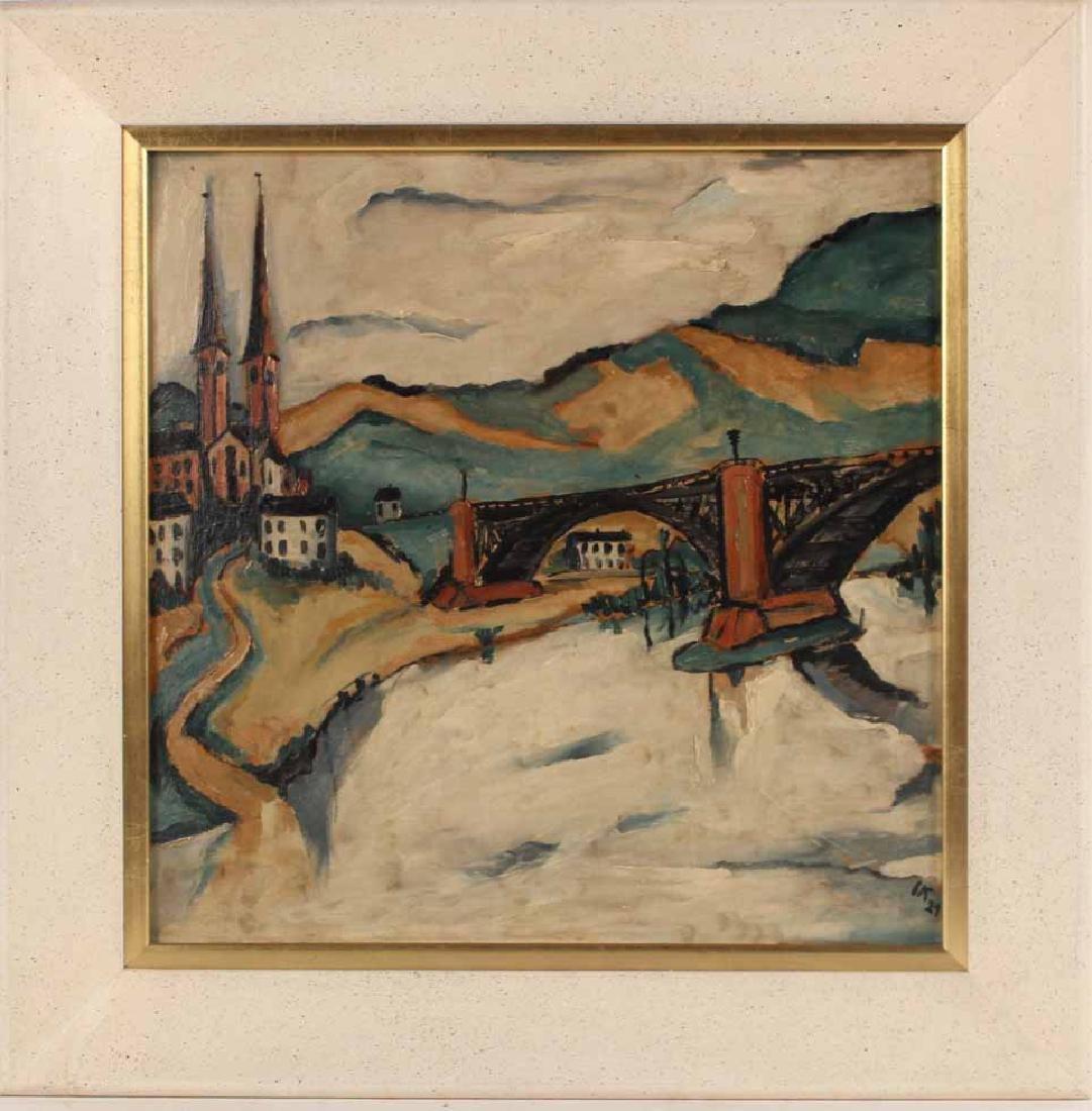 Oil on Board, Jakob Kahn, Abstract Bridge