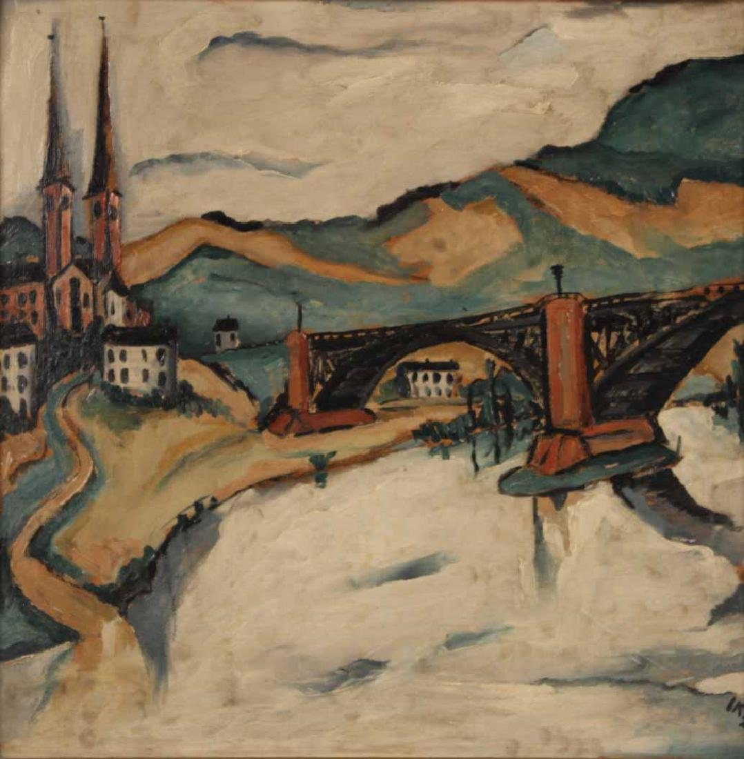 Oil on Board, Jakob Kahn, Abstract Bridge - 2
