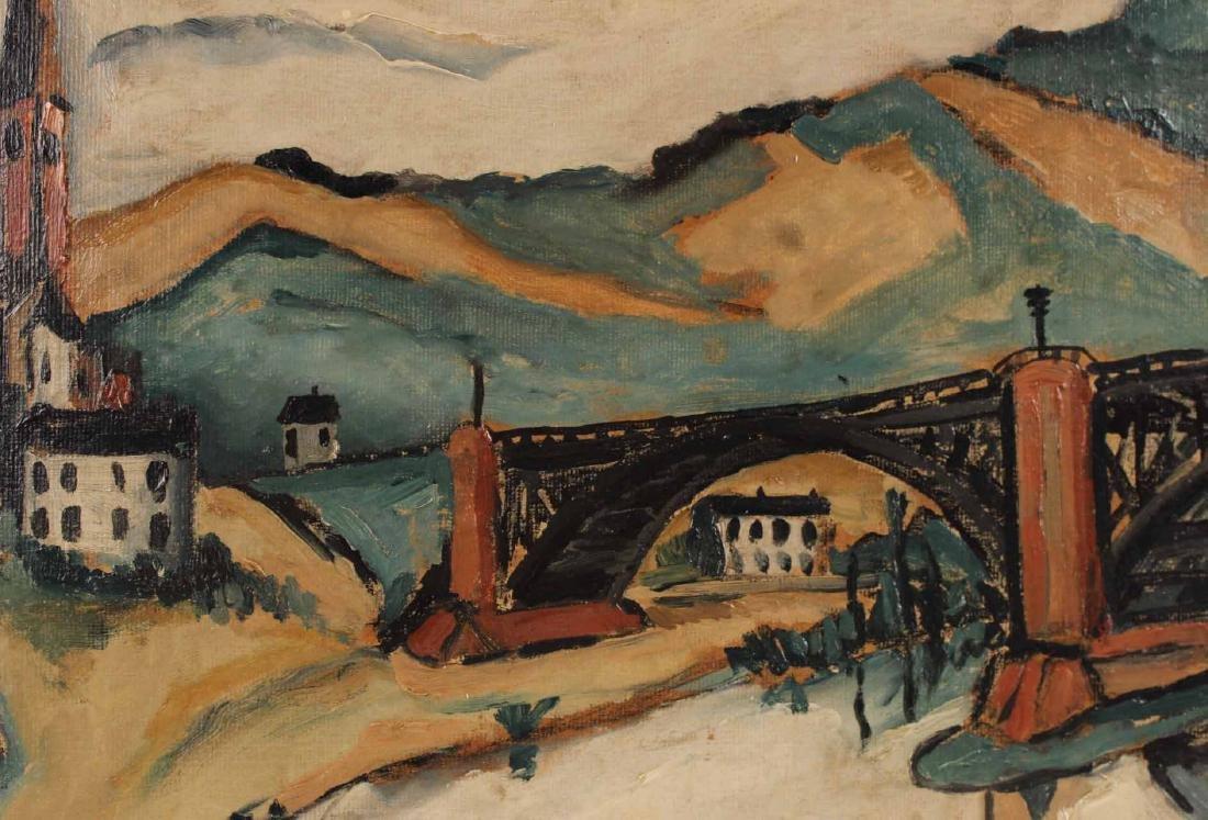 Oil on Board, Jakob Kahn, Abstract Bridge - 6