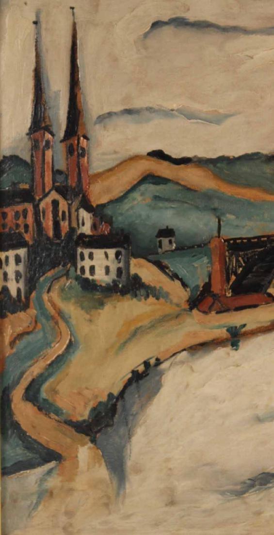 Oil on Board, Jakob Kahn, Abstract Bridge - 7
