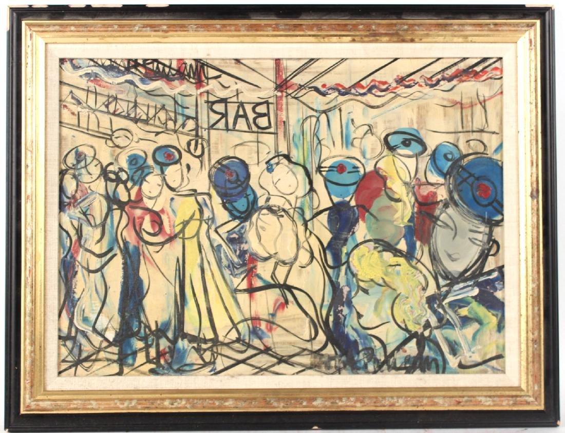 Oil on Board, Michel Marie Poulain, Bar