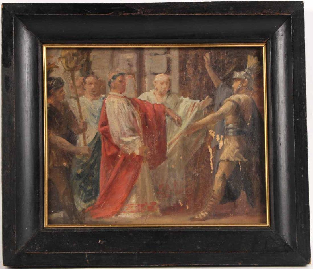 Oil on Board, Roman and Robed Figures