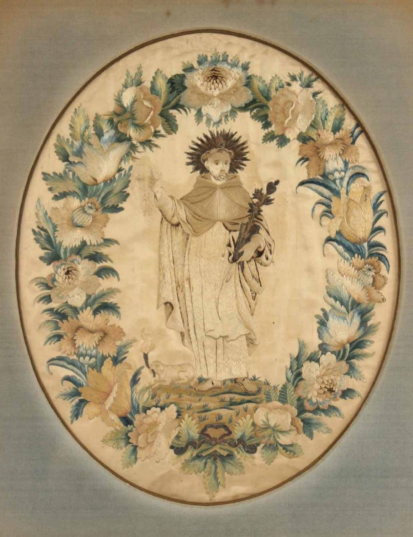 Oval Embroidery on Silk, Crowned Jesus - 2