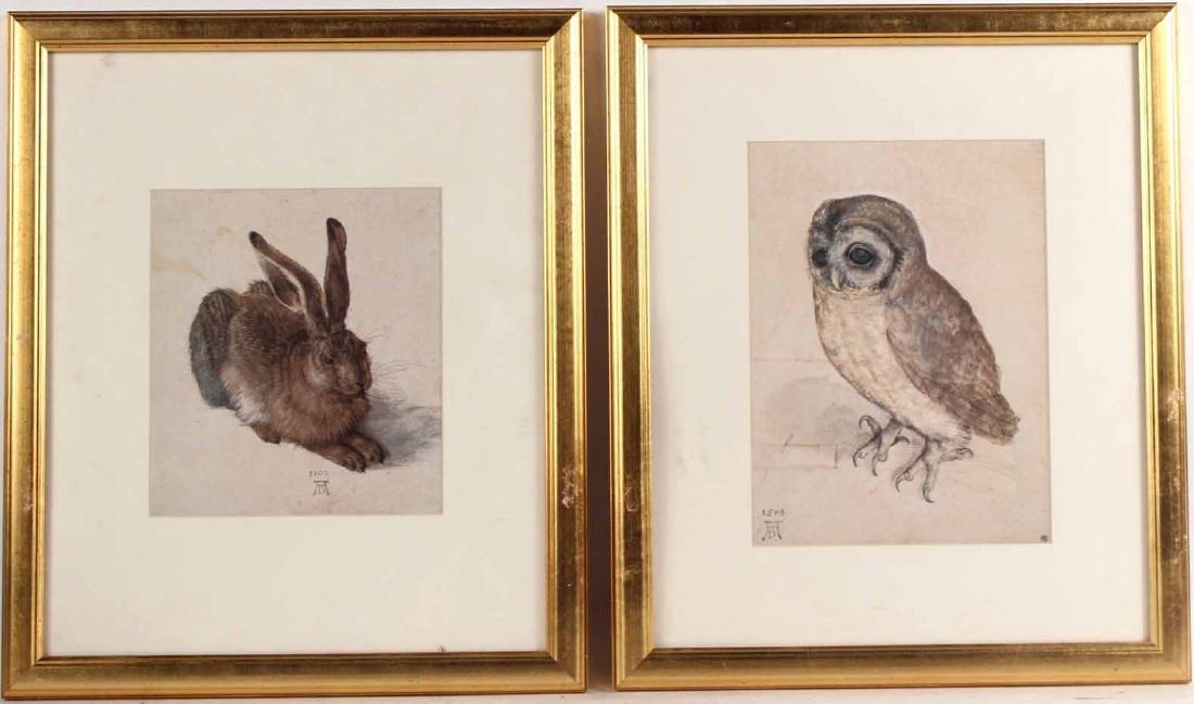 Two Prints, Albrecht Durer, Owl and Rabbit