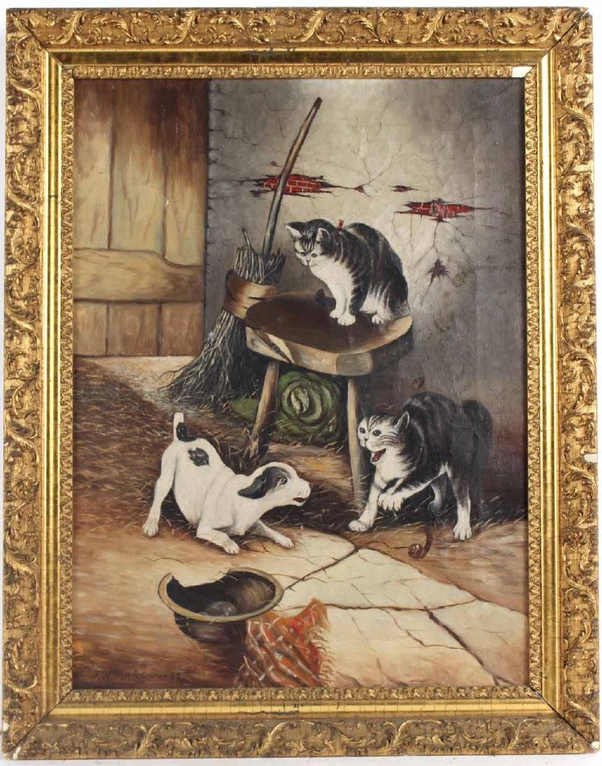 Oil on Canvas, Dog and Cats in Barn, N.W. Marcoux