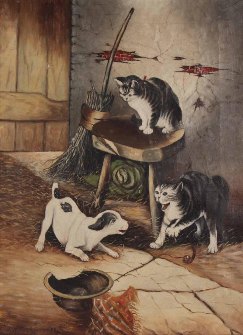 Oil on Canvas, Dog and Cats in Barn, N.W. Marcoux - 2