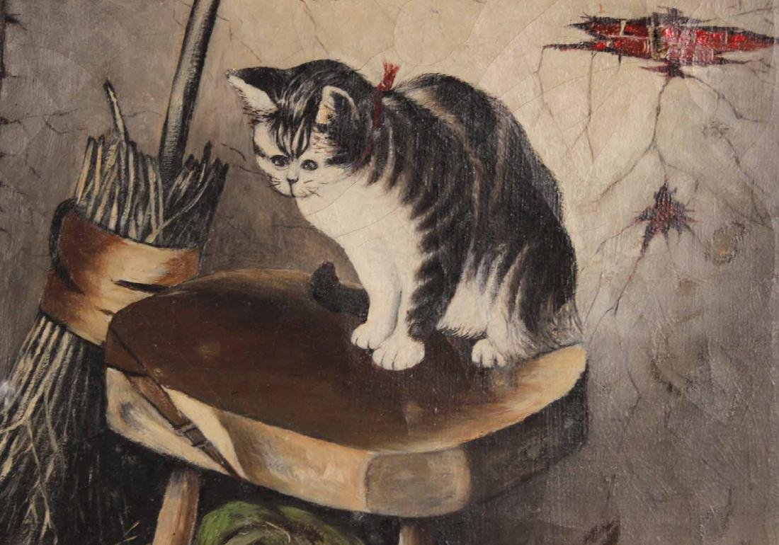 Oil on Canvas, Dog and Cats in Barn, N.W. Marcoux - 6