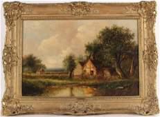 Oil on Canvas Landscape  Cottage Joseph Thors