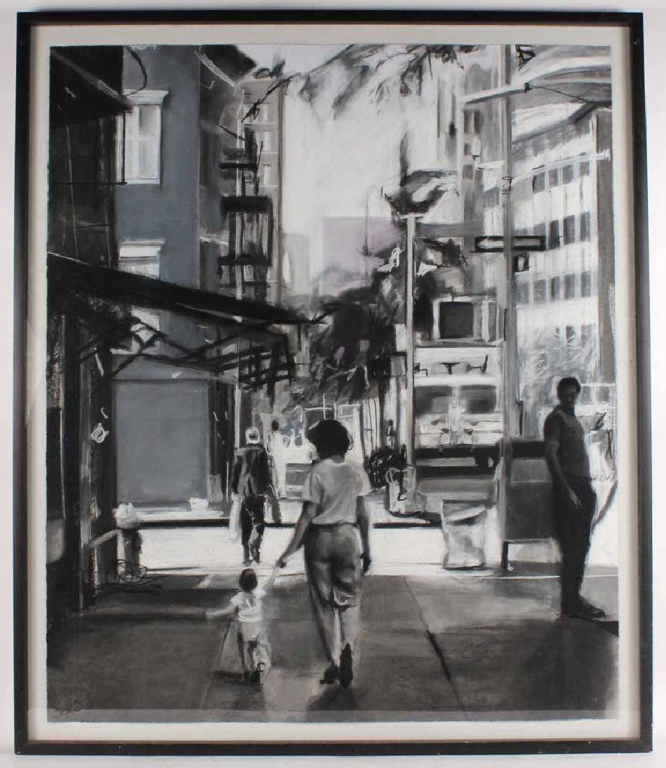 Charcoal Drawing on Paper, Street Scene