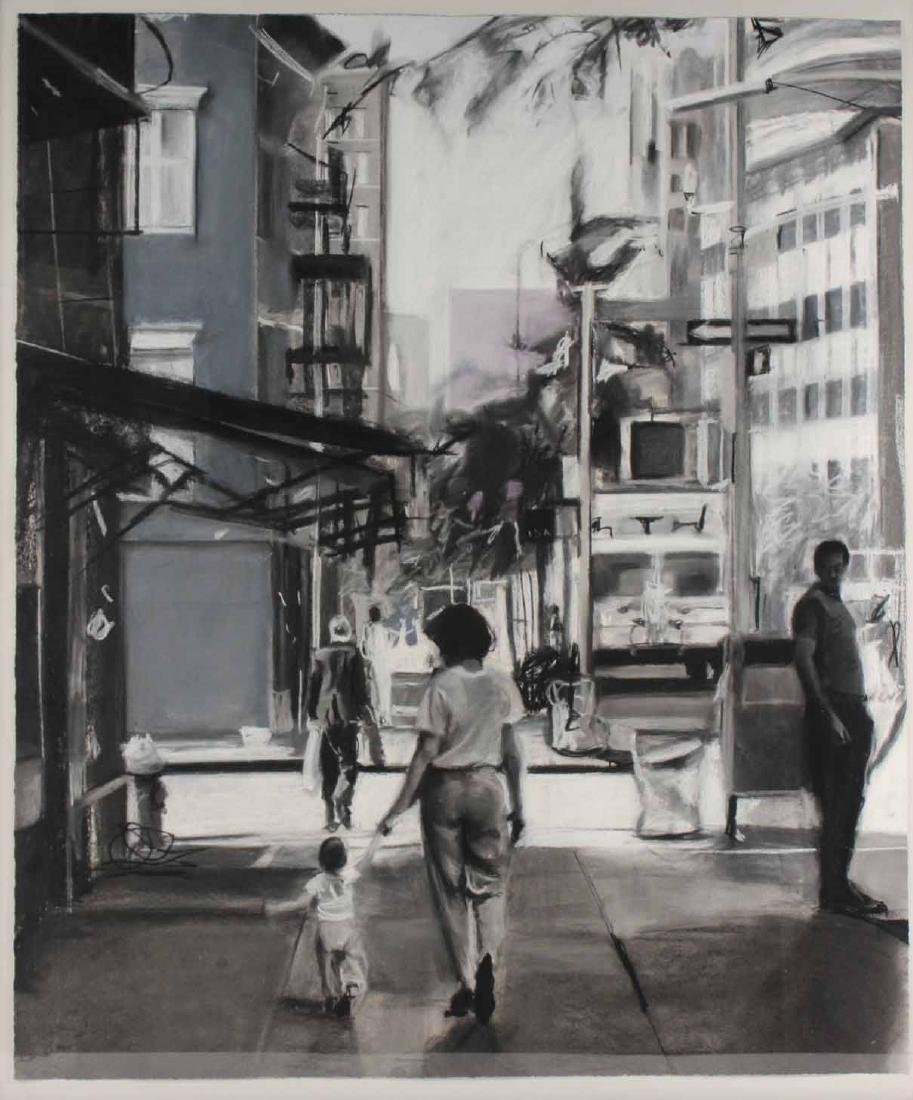 Charcoal Drawing on Paper, Street Scene - 2