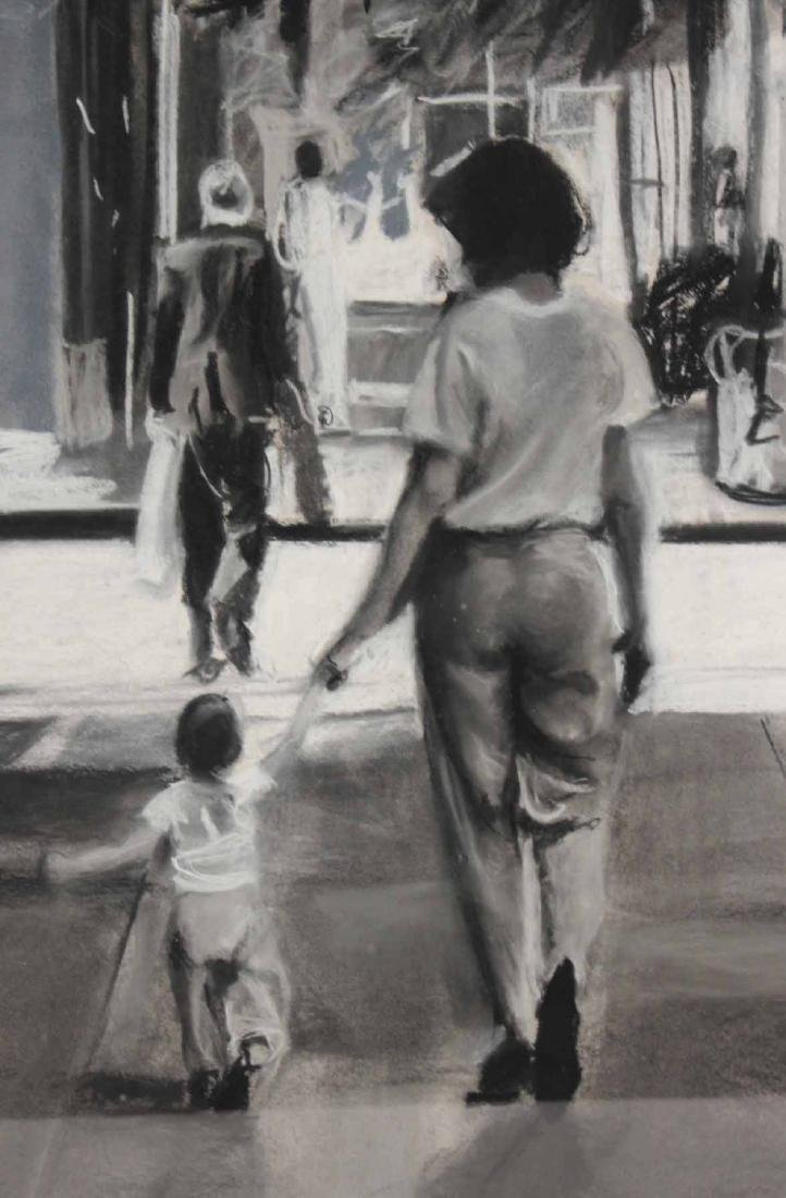 Charcoal Drawing on Paper, Street Scene - 3