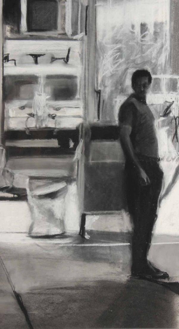 Charcoal Drawing on Paper, Street Scene - 4
