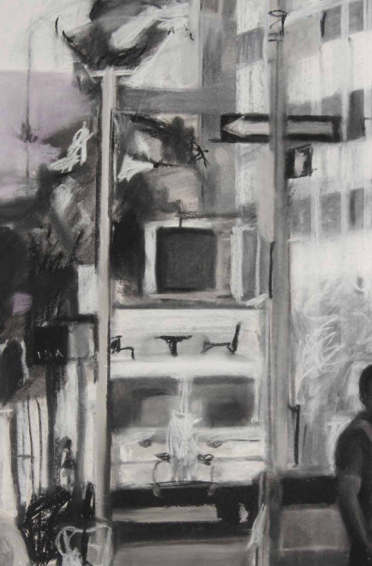 Charcoal Drawing on Paper, Street Scene - 5