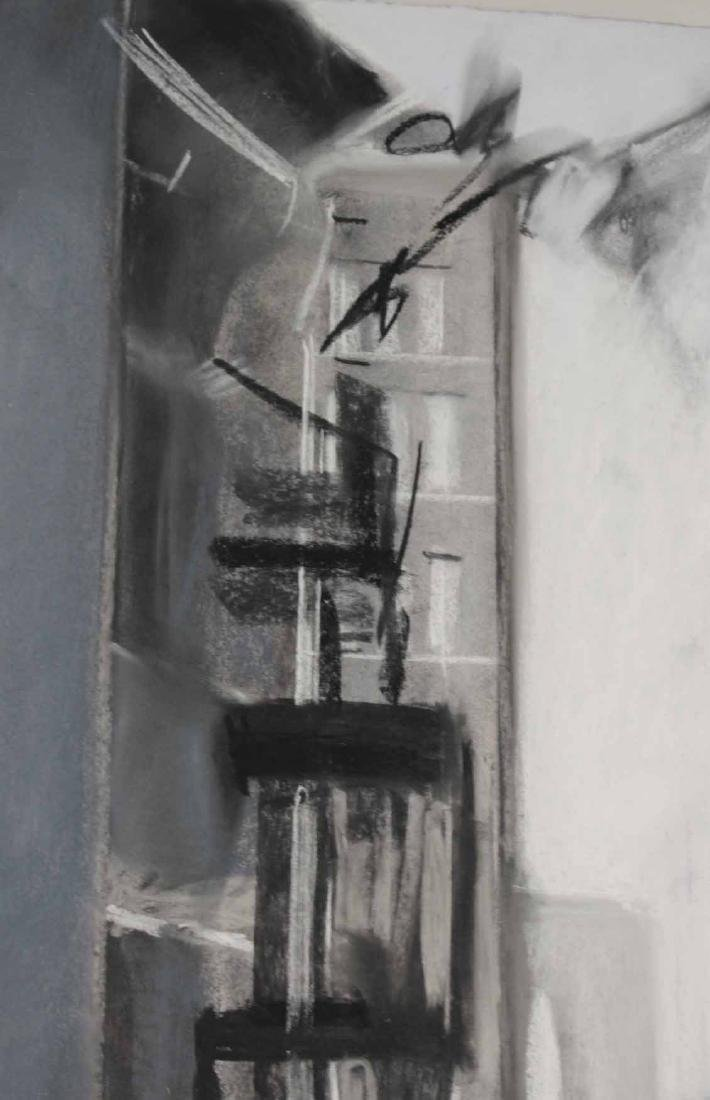 Charcoal Drawing on Paper, Street Scene - 7