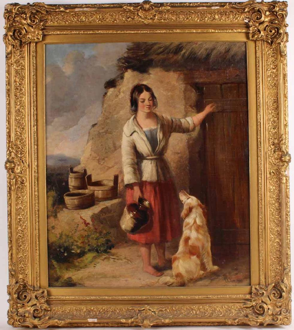 Oil on Canvas, Girl with Dog, Paul Falconer Poole