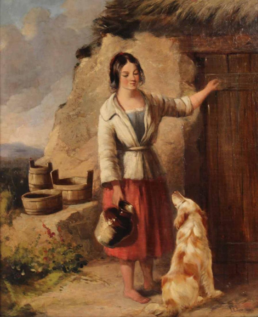 Oil on Canvas, Girl with Dog, Paul Falconer Poole - 2