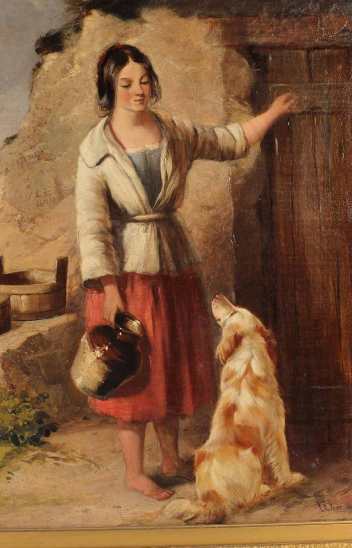 Oil on Canvas, Girl with Dog, Paul Falconer Poole - 5