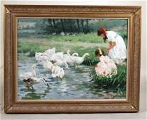 Oil on Canvas Young Girls with Geese