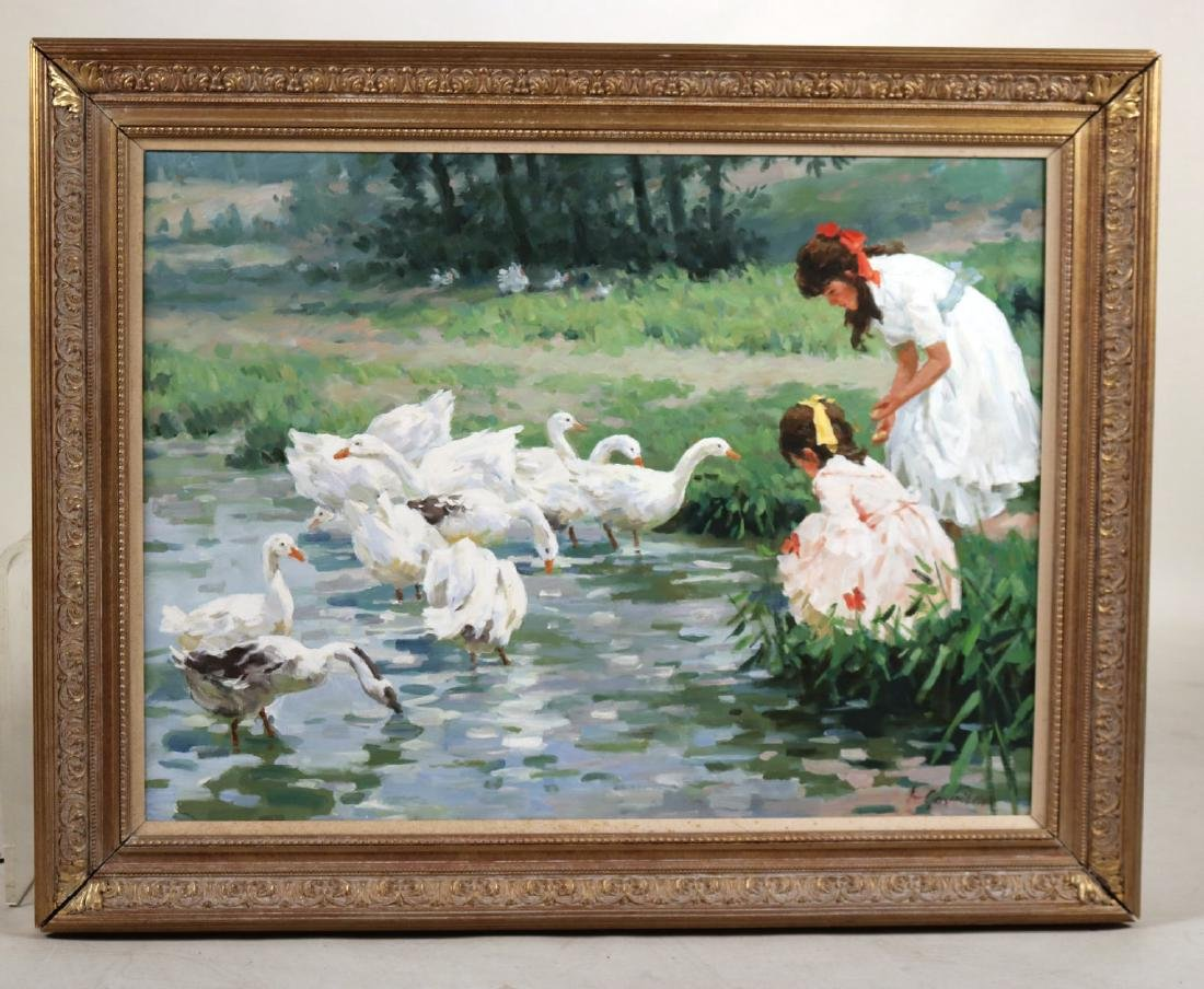 Oil on Canvas, Young Girls with Geese