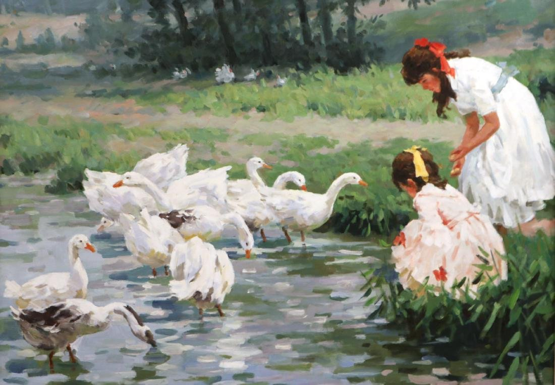 Oil on Canvas, Young Girls with Geese - 2