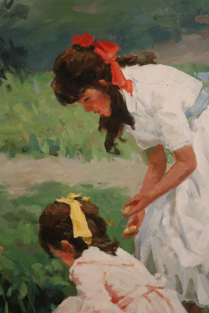 Oil on Canvas, Young Girls with Geese - 3