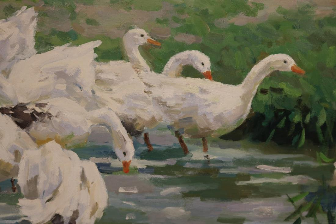 Oil on Canvas, Young Girls with Geese - 4