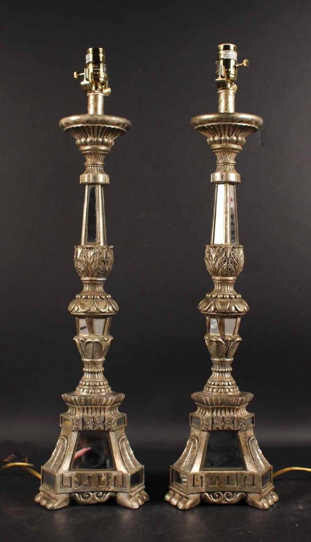 Pair of Neoclassical Mirrored Candlesticks