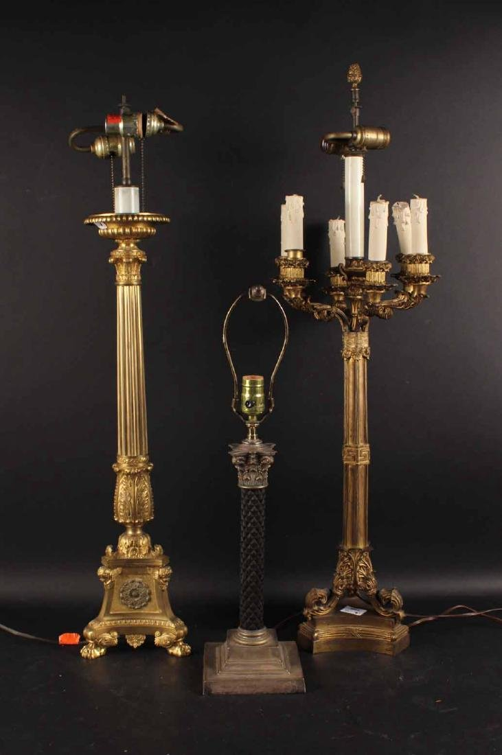 Three Neoclassical Style Patinated Metal Lamps