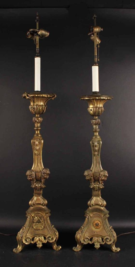 Pair Neoclassical Style Gilt Metal Candlesticks