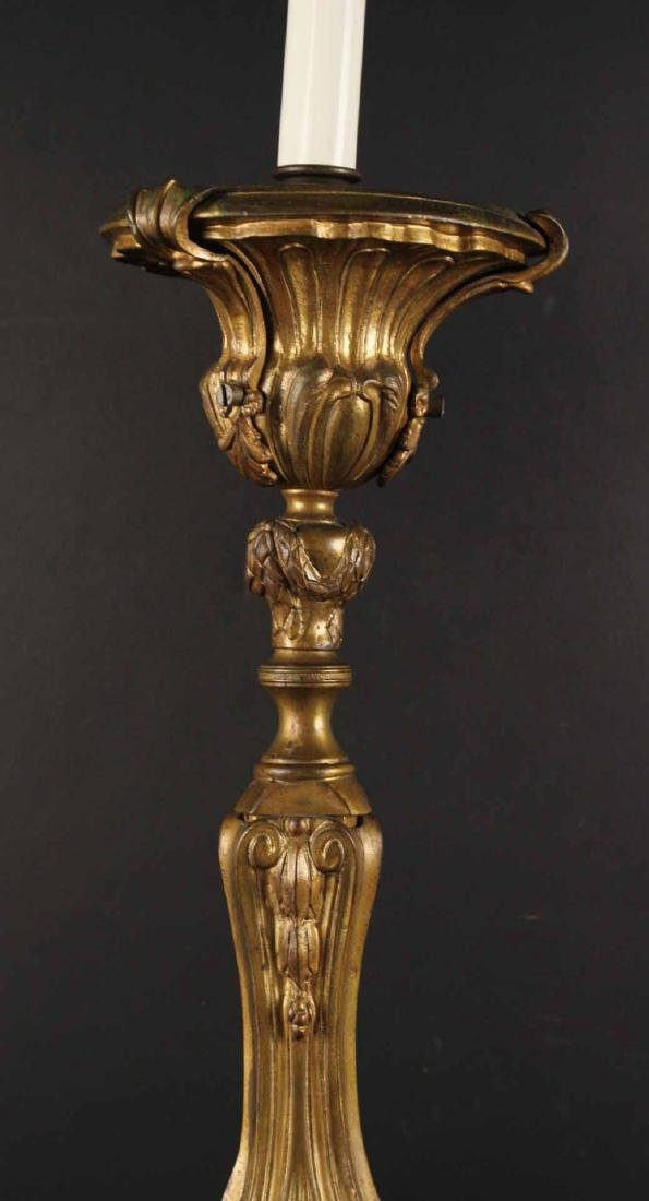 Pair Neoclassical Style Gilt Metal Candlesticks - 5