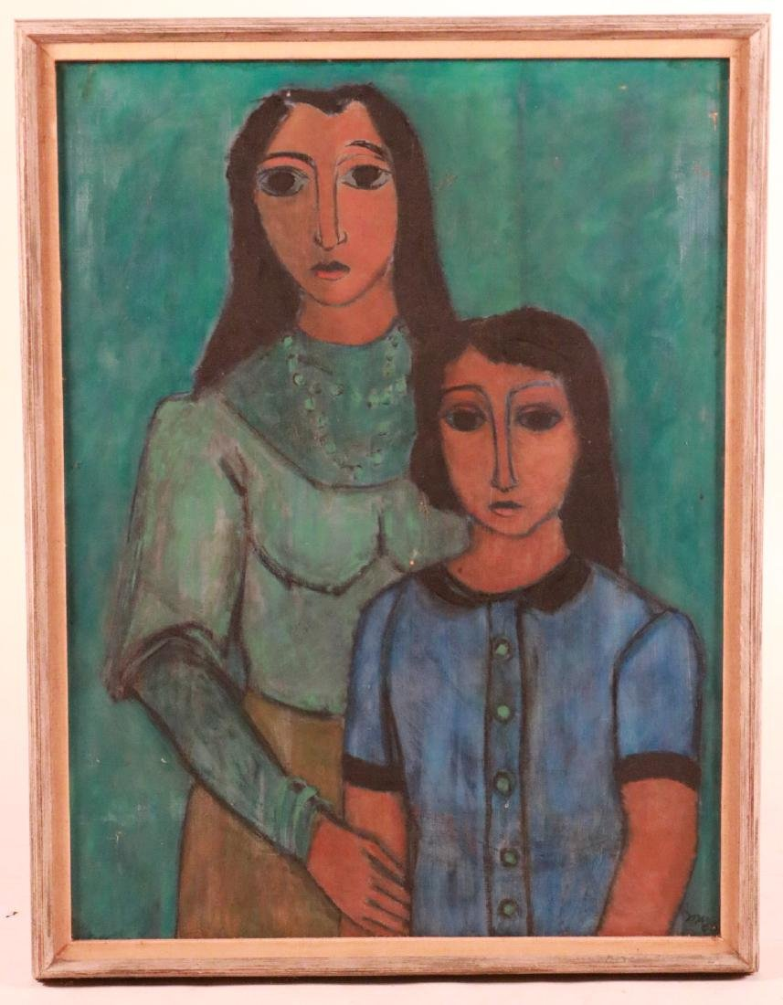 Oil on Canvas, Mother and Child in Blue