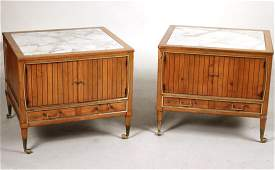 Pair of Mid-Century Modern Marble-Top Side Tables