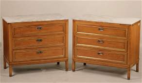 Pair of Mid-Century Modern Marble-Top Chests