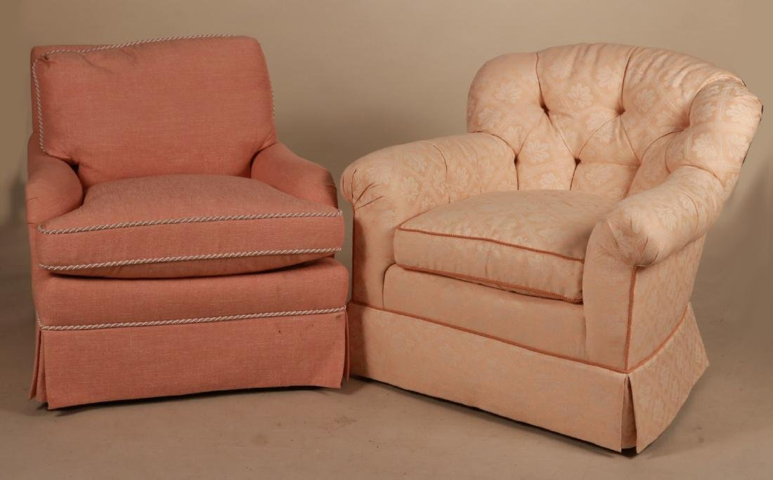 Two Pink-Upholstered Club Chairs