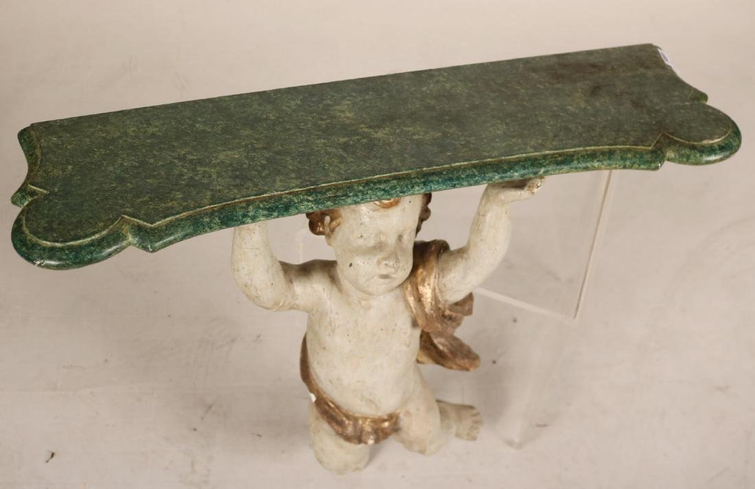 Paint-Decorated Putti-Form Console Table - 4