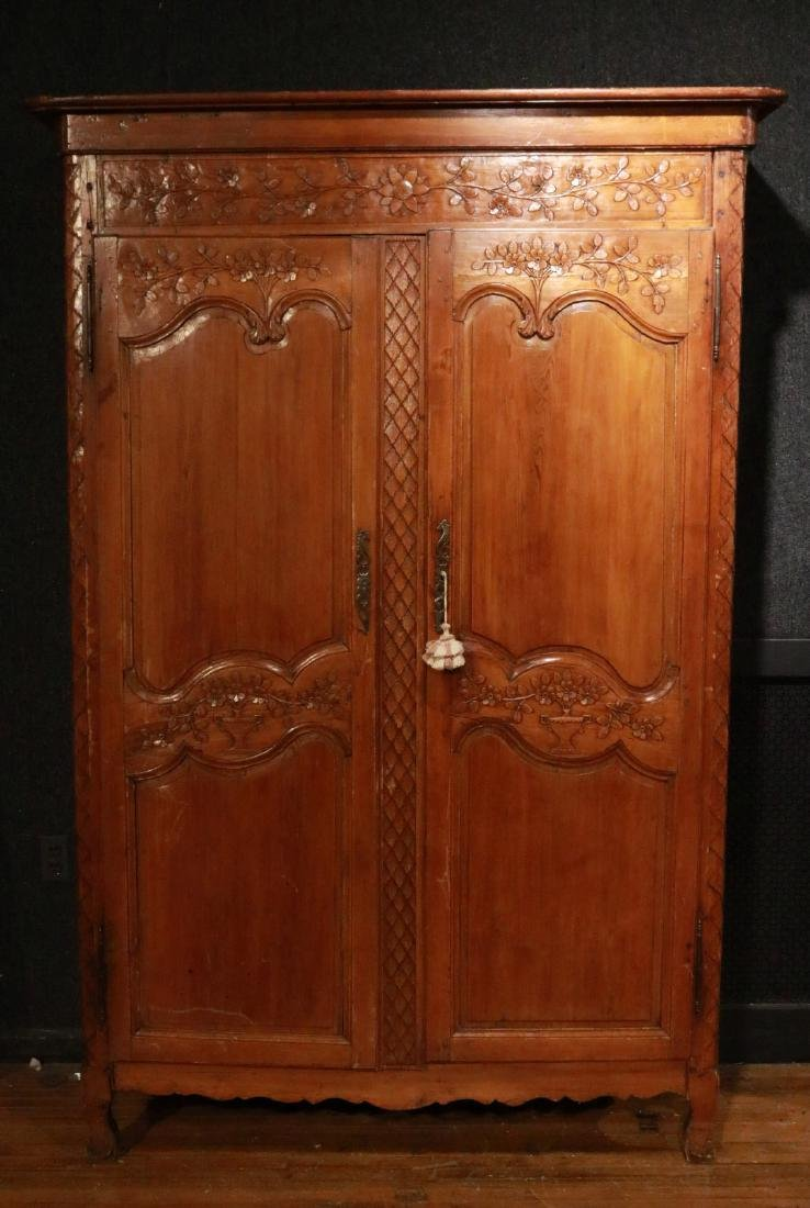 French Provincial Carved Pine Armoire - 2