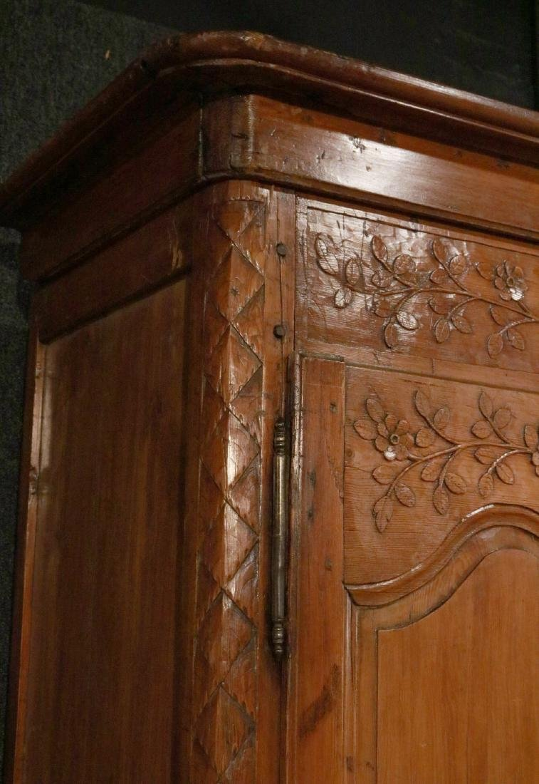 French Provincial Carved Pine Armoire - 3