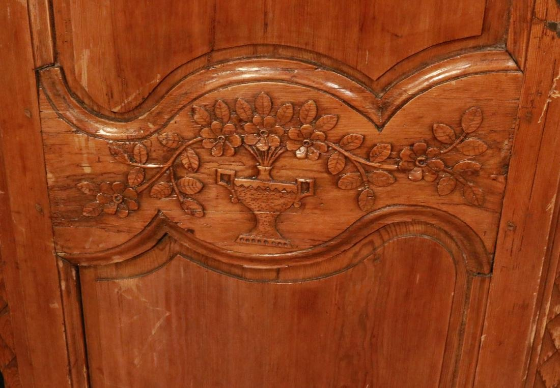French Provincial Carved Pine Armoire - 5