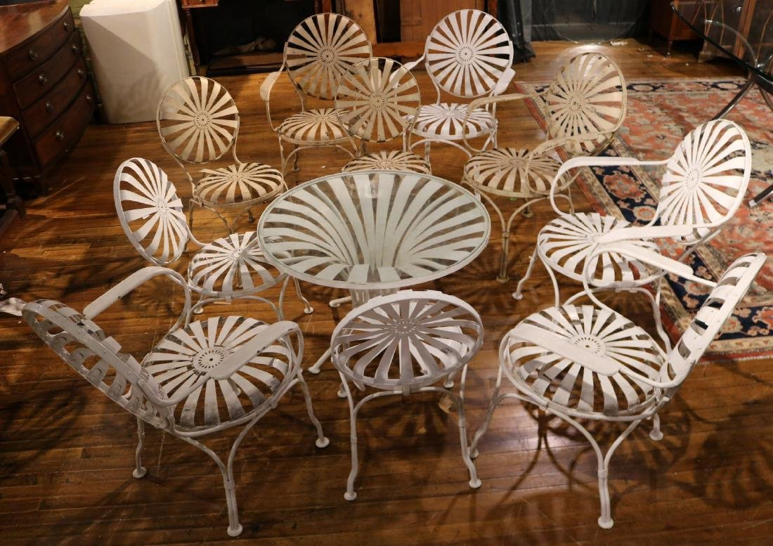 Ten White-Painted Metal Garden Chairs