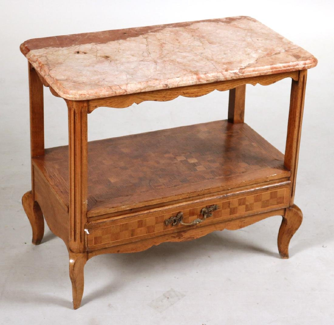 Louis XV Style Marble Top Inlaid Side Table