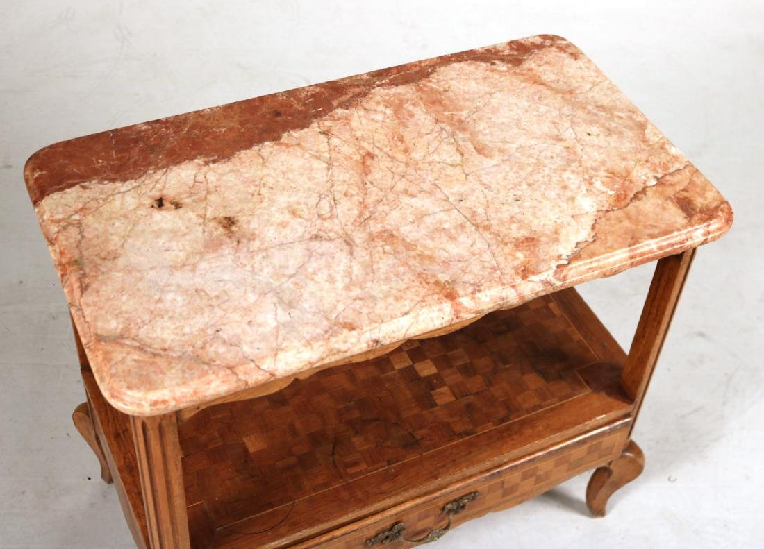 Louis XV Style Marble Top Inlaid Side Table - 2