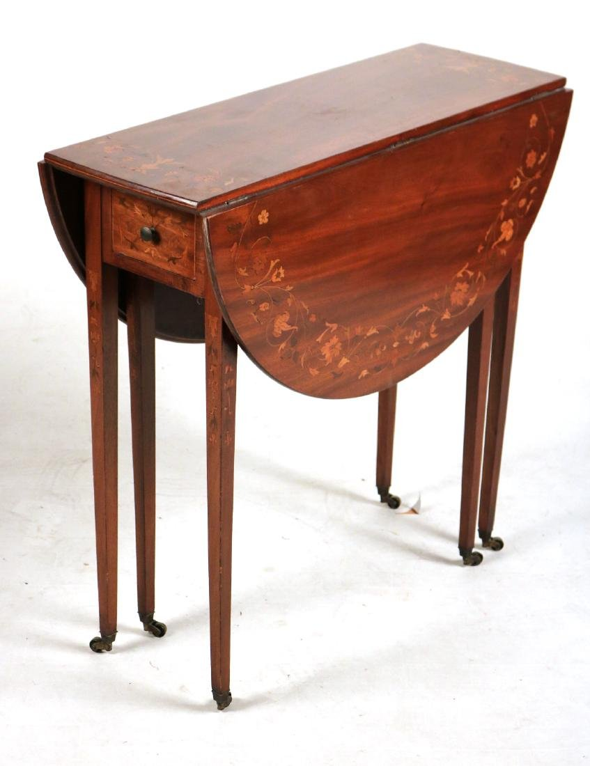 Neoclassical Style Mahogany Drop-Leaf Table