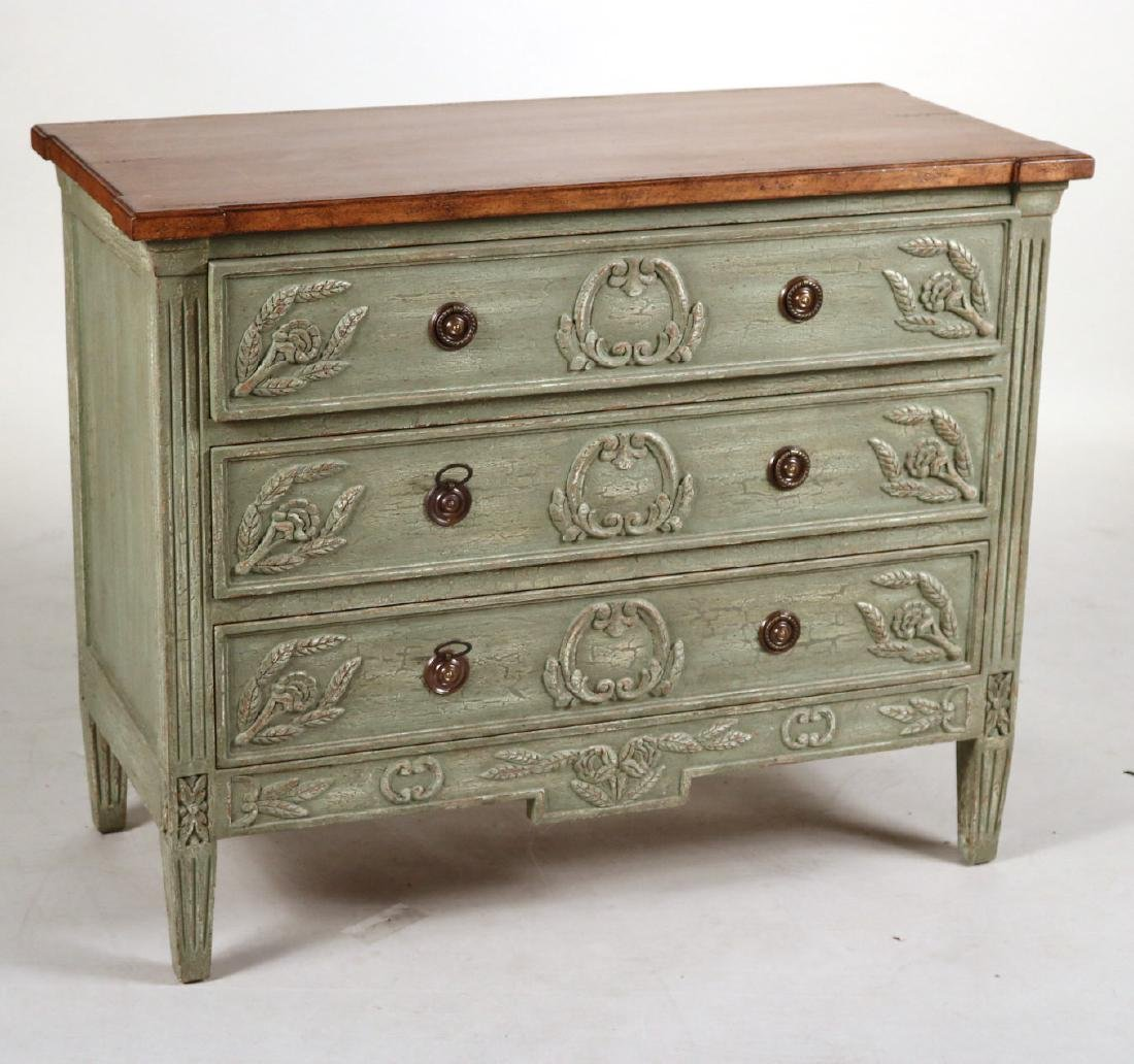 Neoclassical Style Green-Painted Chest of Drawers