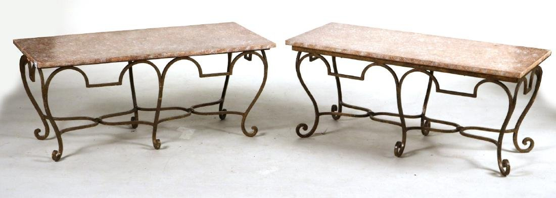 Pair of Gold-Painted and Faux-Stone Low Tables