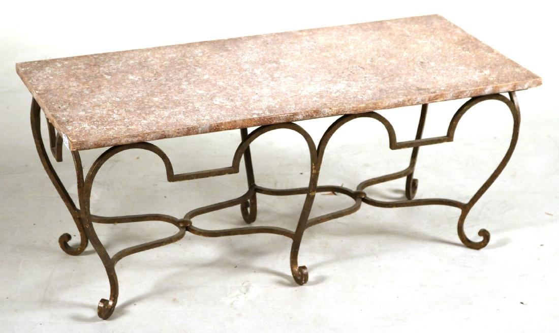 Pair of Gold-Painted and Faux-Stone Low Tables - 2