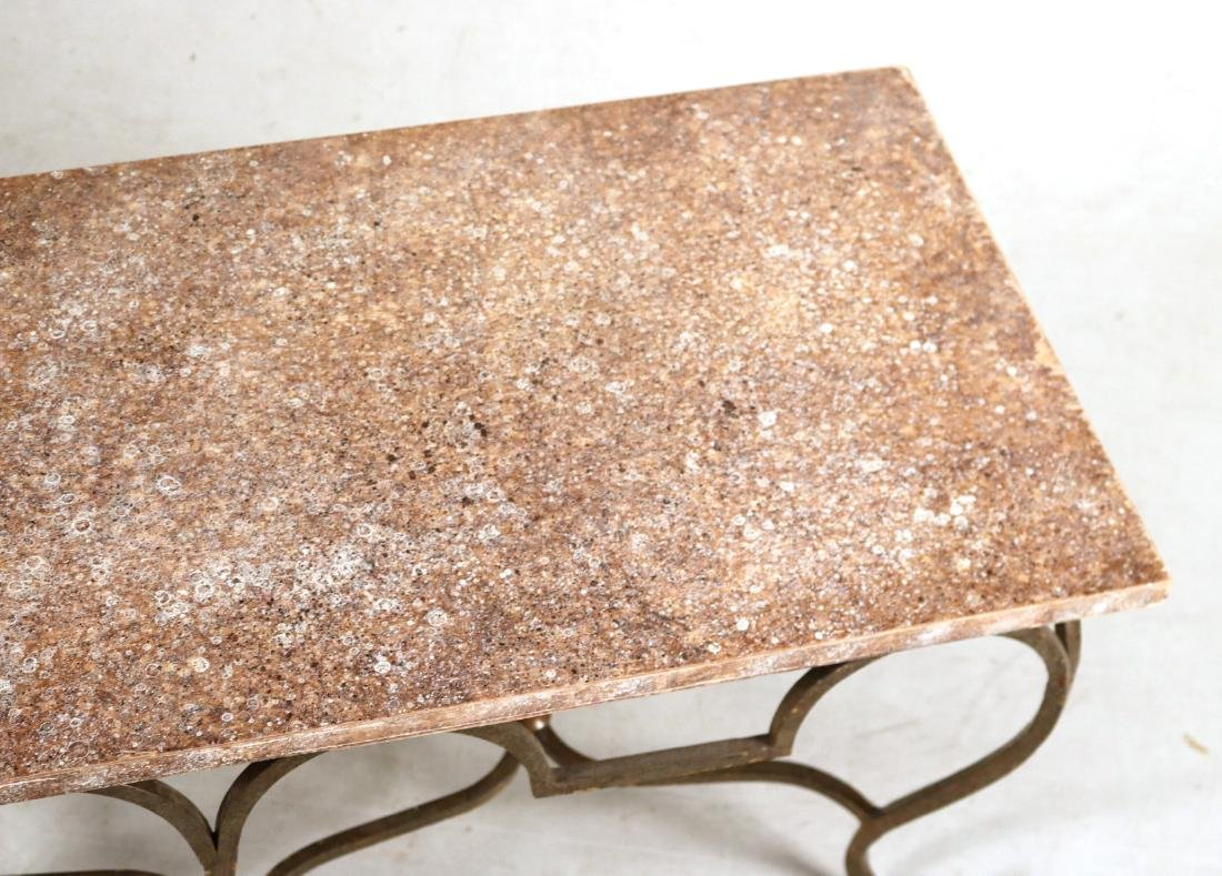 Pair of Gold-Painted and Faux-Stone Low Tables - 4