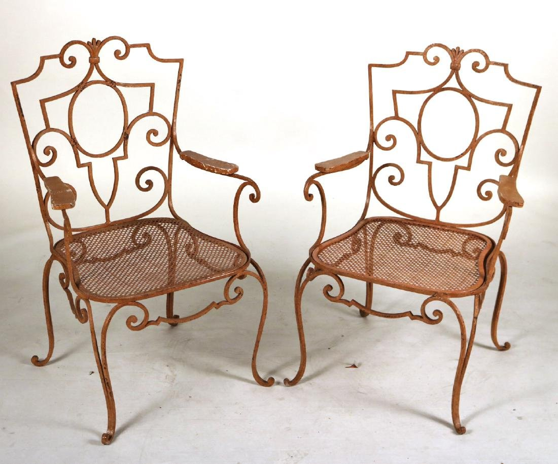 Pair of Painted-Metal Garden Armchairs
