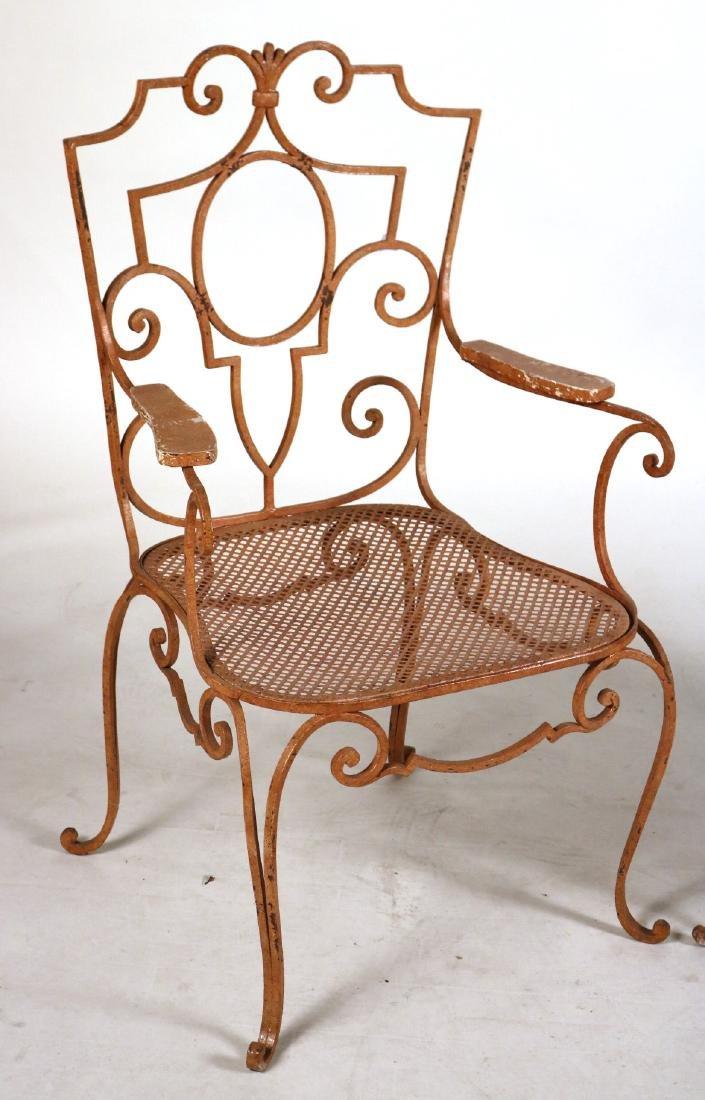 Pair of Painted-Metal Garden Armchairs - 2