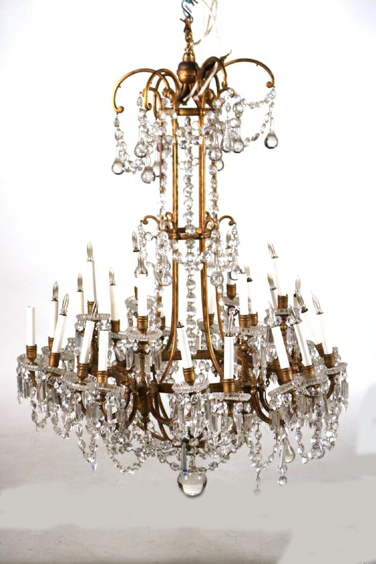 Louis XVI Style Gold-Painted & Crystal Chandelier